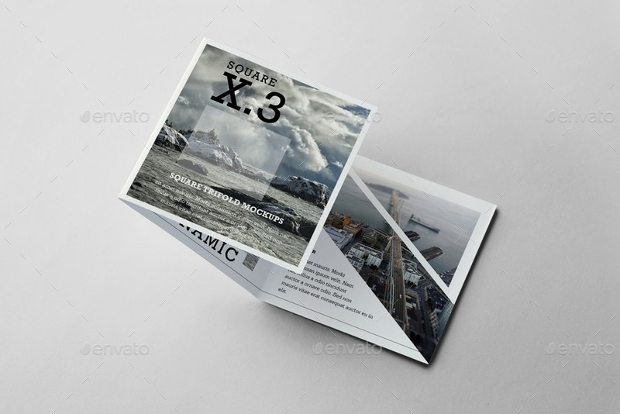 square trifold brochure mock up