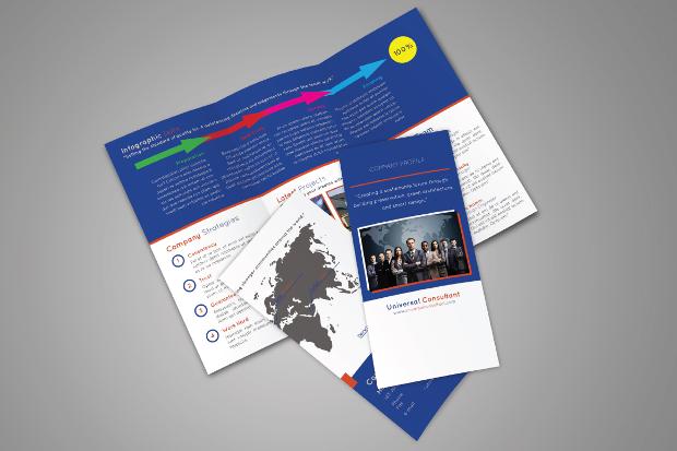 company trifold brochure mockup