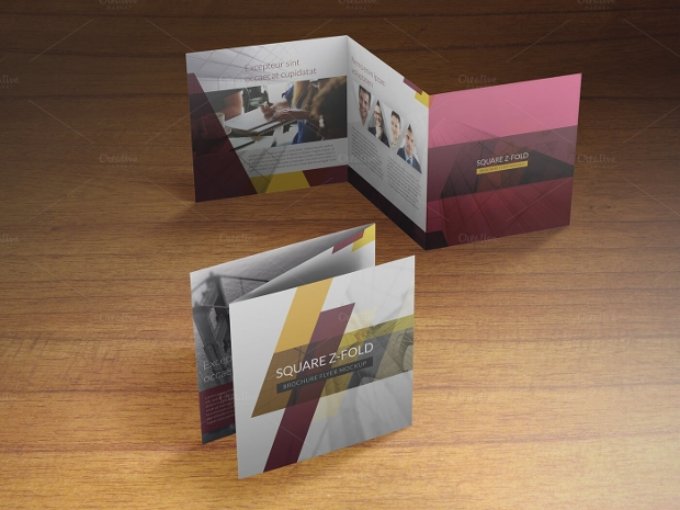 square z fold brochure mockup design