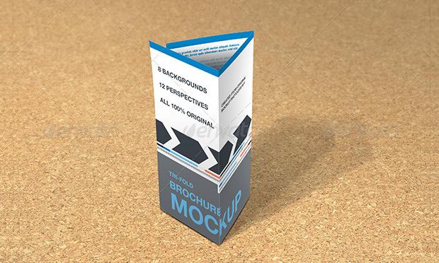 photorealistic trifold brochure mockup