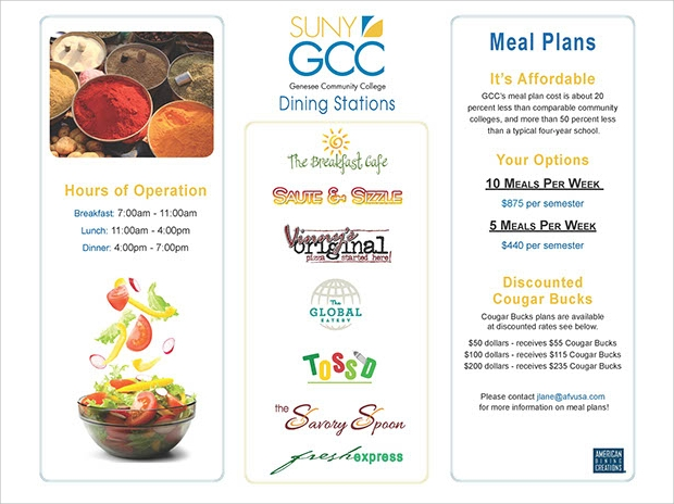 College Meal Plan Brochure