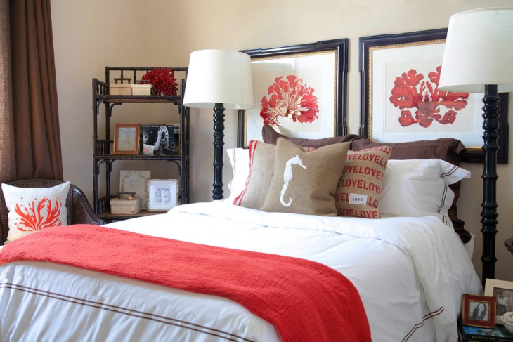 teal and coral bedroom idea