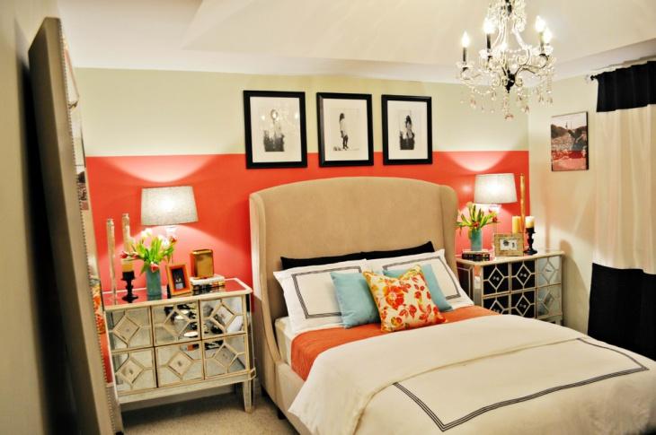 small coral bedroom idea
