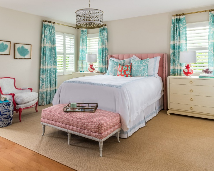 beach style coral bedroom