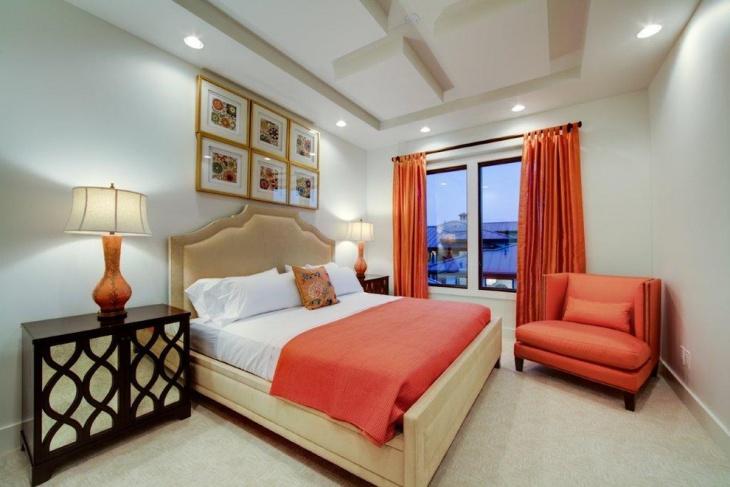 contemporary coral bedroom idea