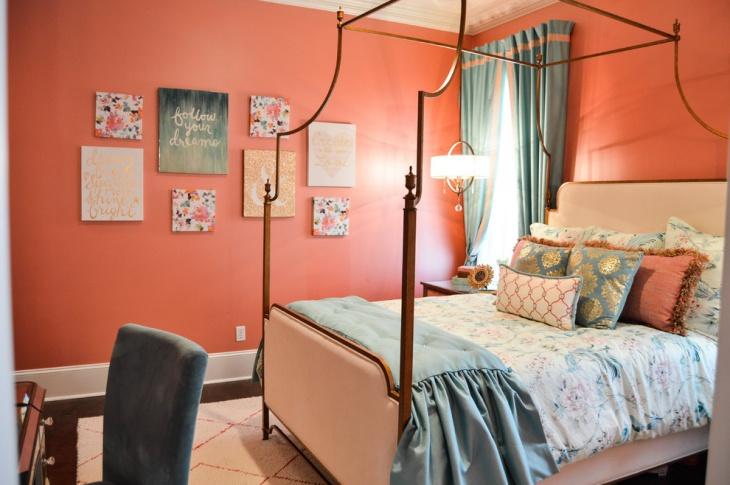 transitional tween coral bedroom