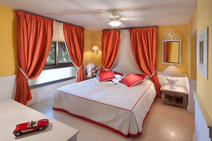 coral curtain bedroom design
