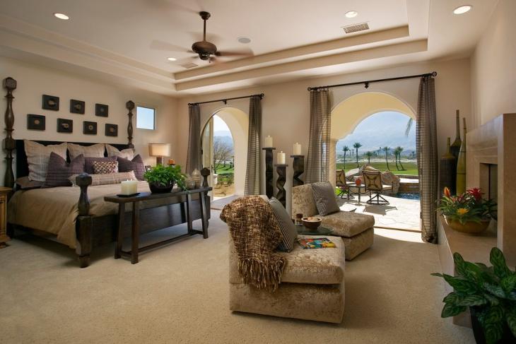 coral bedroom furnished idea