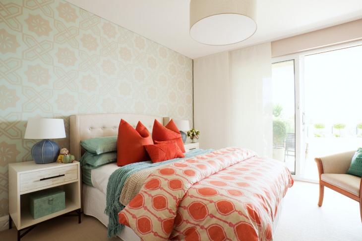 eclectic coral bedroom design