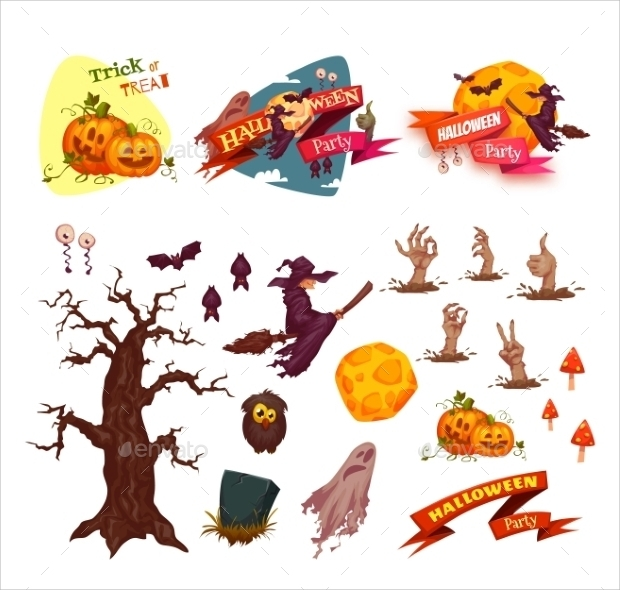 halloween party vector elements