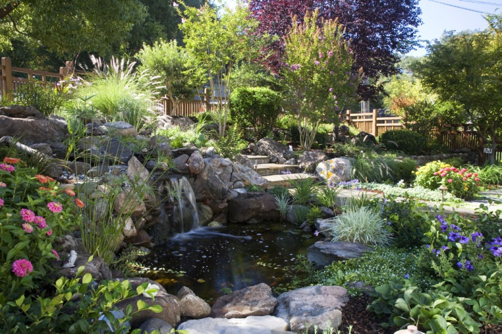 18 garden pond designs ideas design trends premium for Plants around ponds