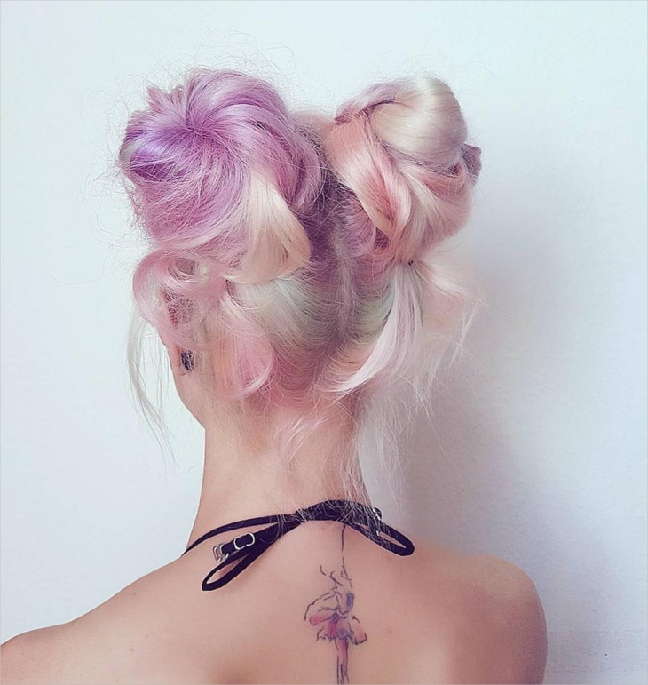 double bun lilac hairstyle