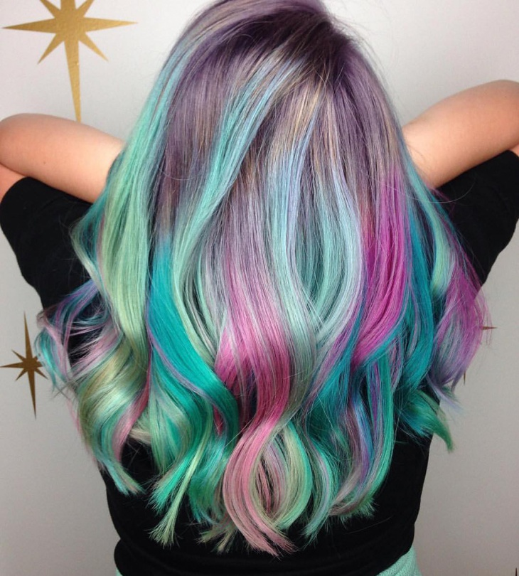 colorful lilac hairstyle