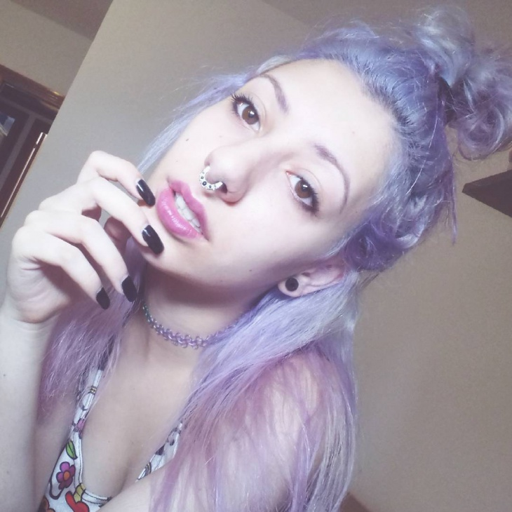 cute bun with lilac hairstyle