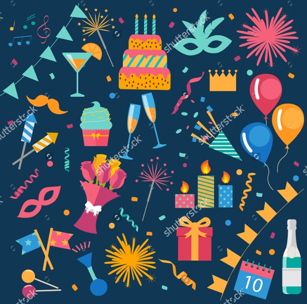 colorful birthday party vector