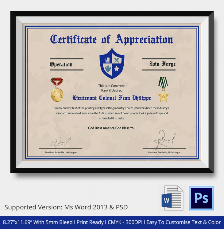 veterans appreciation certificate template - certificate of appreciation psd word designs design