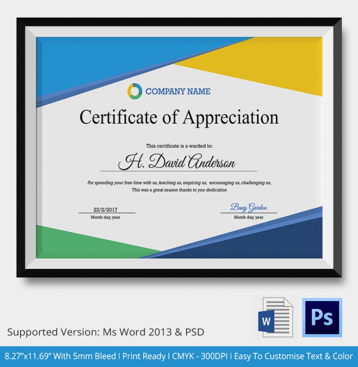 appreciation certificate template for employee - certificate of appreciation psd word designs design