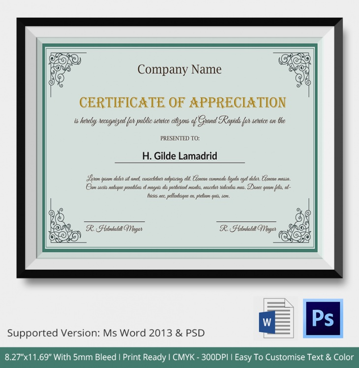 Certificate of appreciation psd word designs design trends government certificate of appreciation yadclub Images