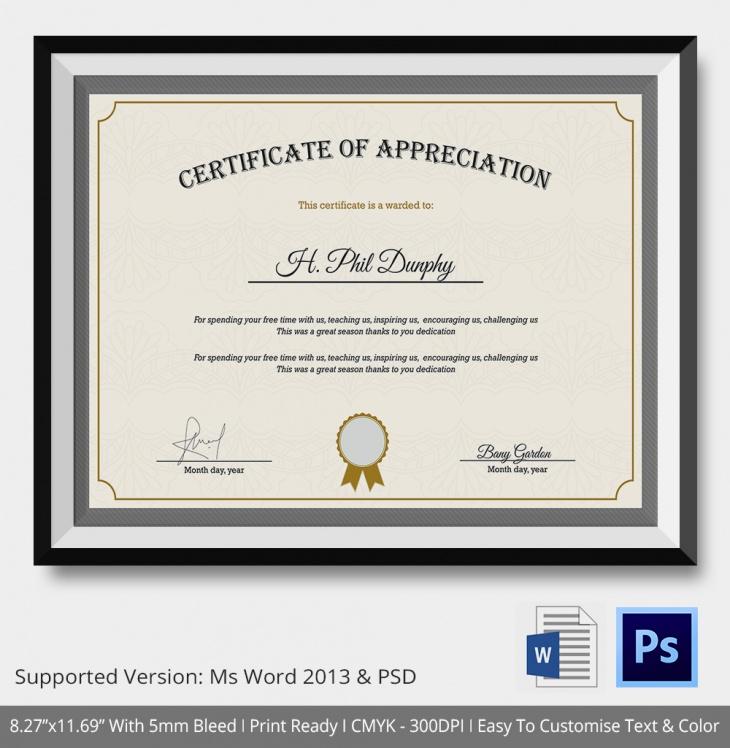 Compay Certifiticate of appreciation