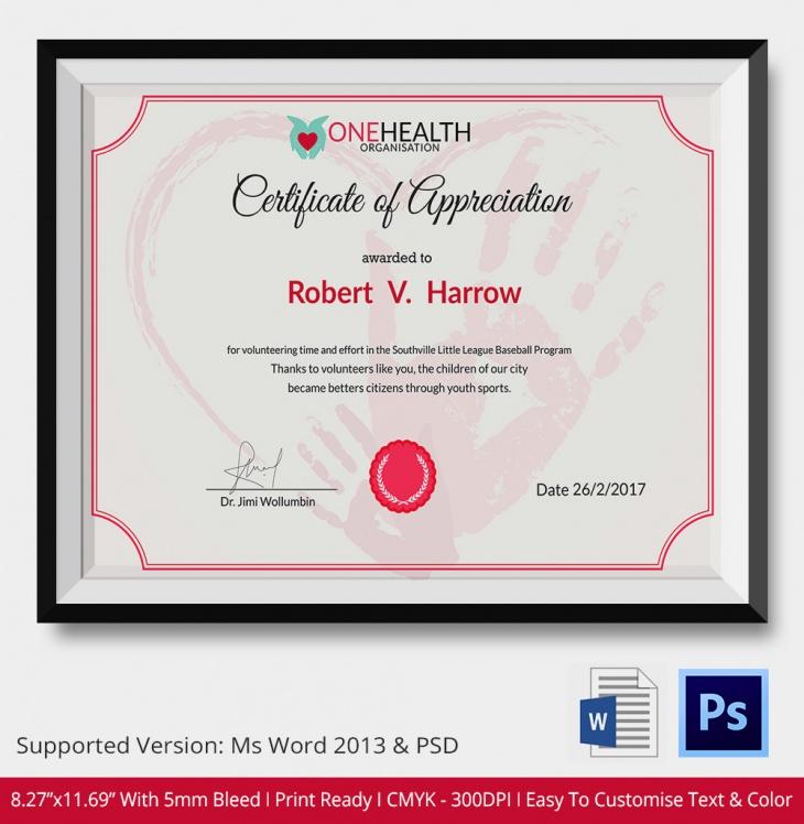 Fittness Certificate of Appreciation