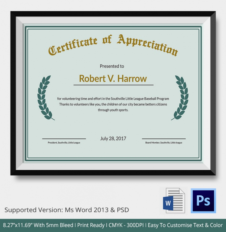 15 Certificate Of Appreciation Psd Word Ai Design Trends
