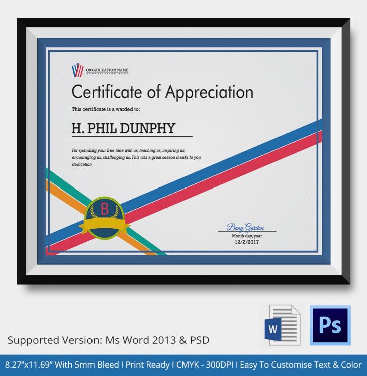 School Certificate of Appreciation