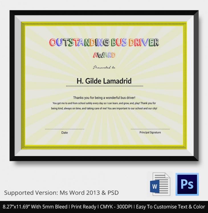 School Driver Certificate of Appreciation