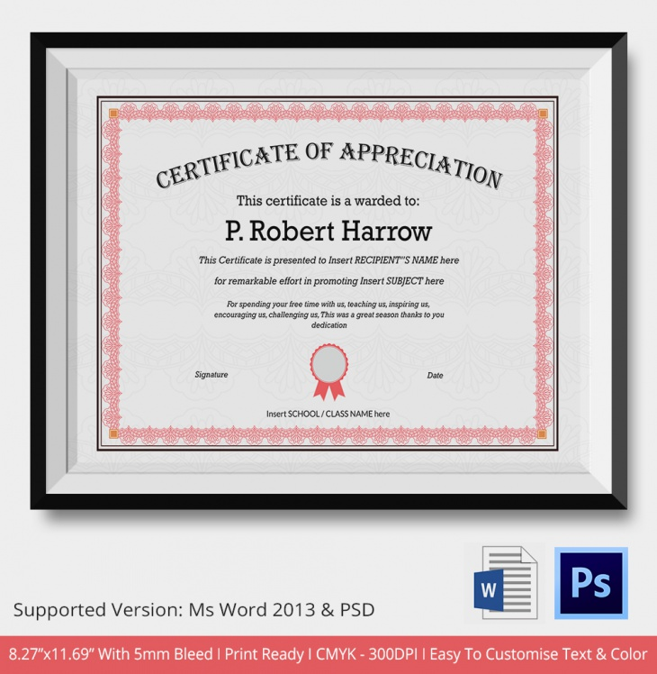 certificate of appreciation psd amp word designs design