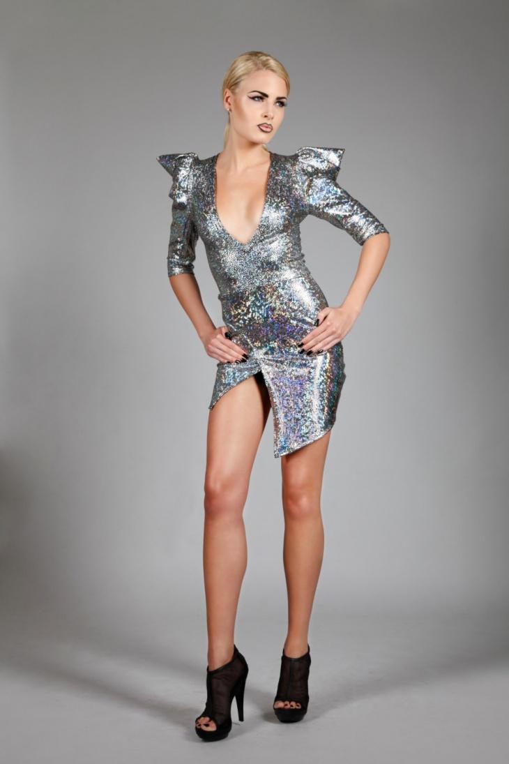 mini slit evening dress