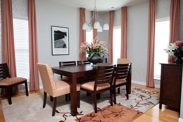 small darkwood neutral dining room