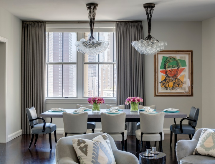 neutral dining room bubble chandelier design