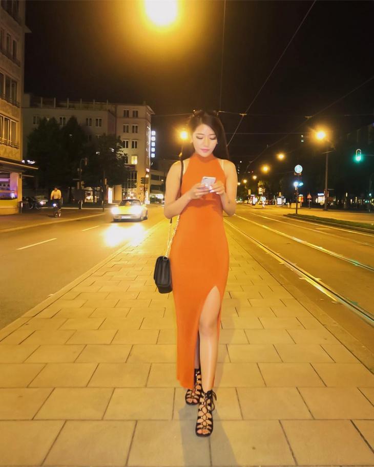 orange slit neck dress