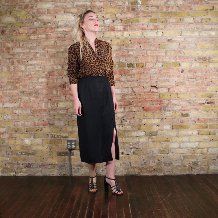 leopard slit dress