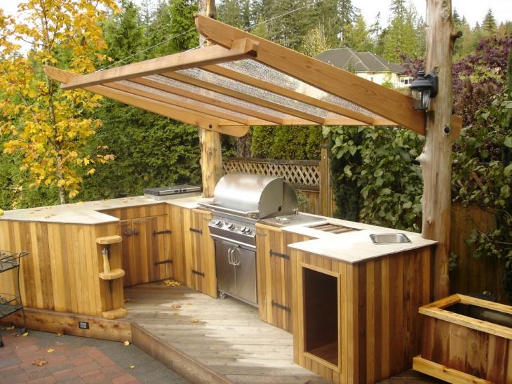 outdoor kitchen wood countertop
