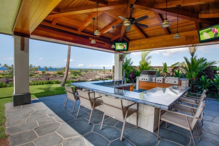outdoor kitchen glass countertop