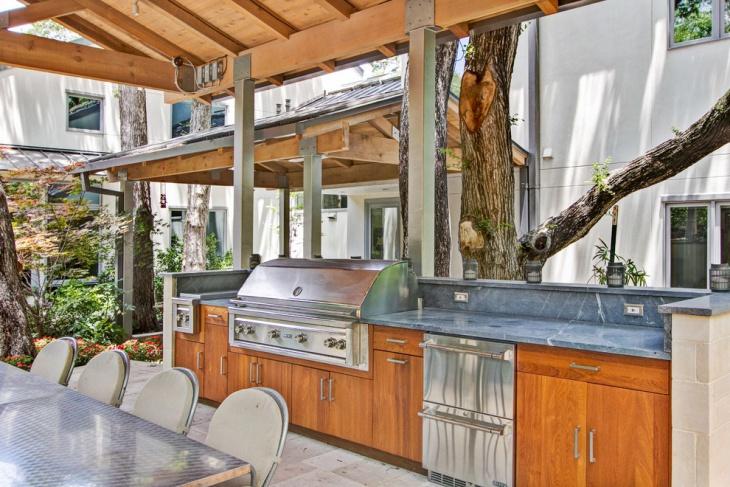 rustic outdoor kitchen countertop