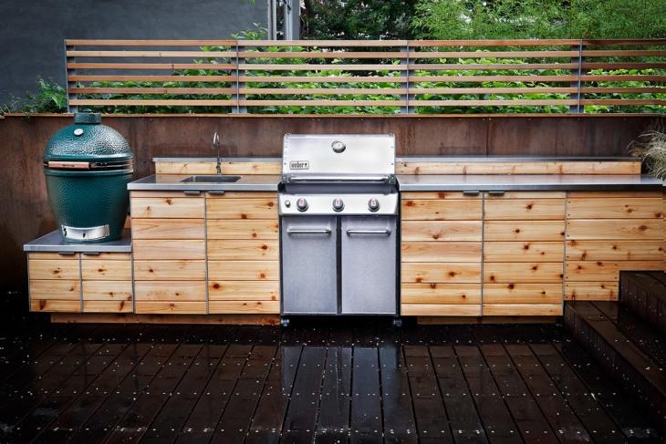 contemporary outdoor kitchen countertop