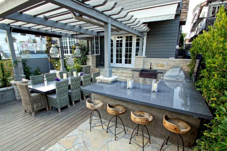 outdoor kitchen gray countertop