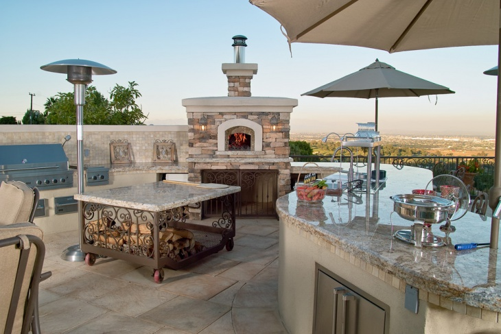 Outdoor Kitchen Space Marble Countertop