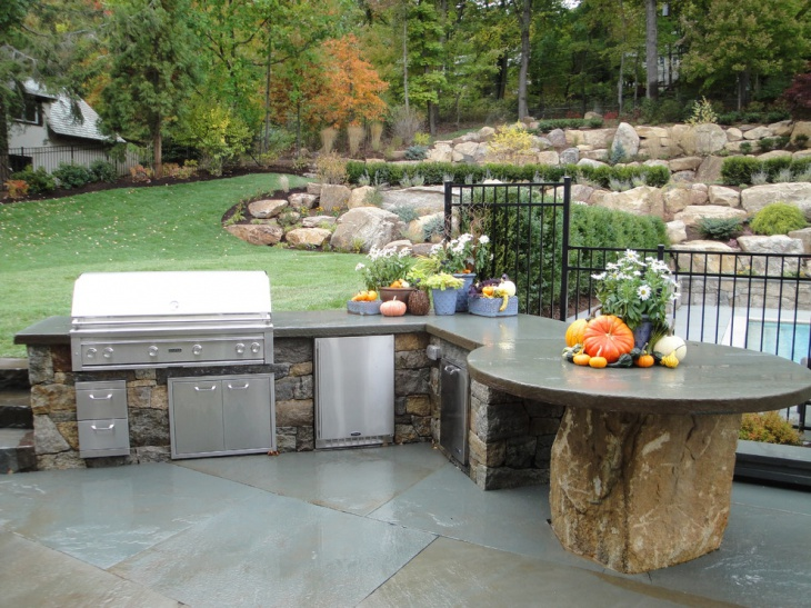 17 outdoor kitchen countertop designs ideas design for Outdoor stone kitchen designs