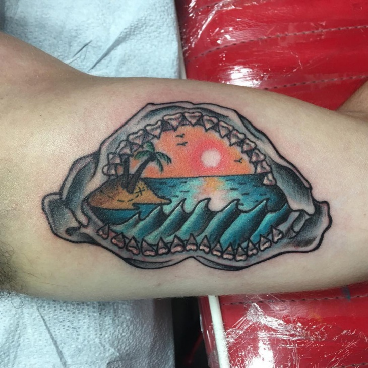 traditional sunset tattoo