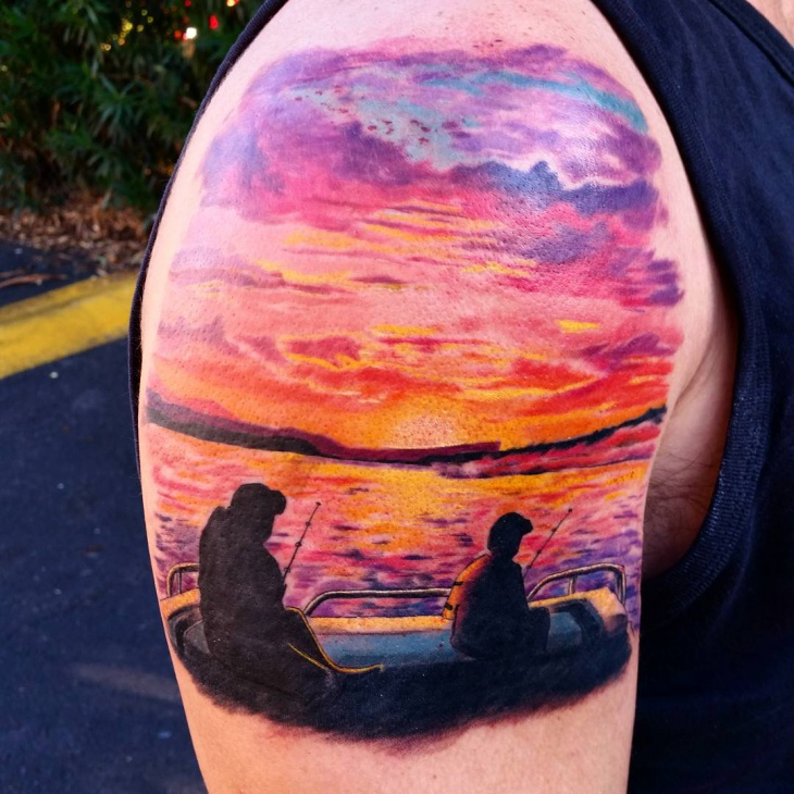 Sunset Cloud Tattoo Design