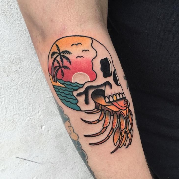 Sunset Skull Tattoo Idea