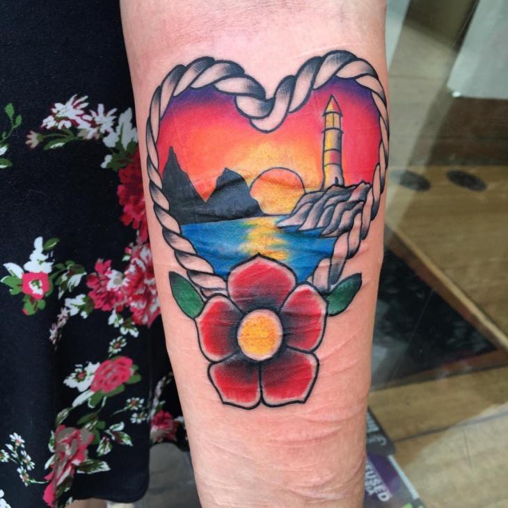 Heart Symbol Sunset Tattoo