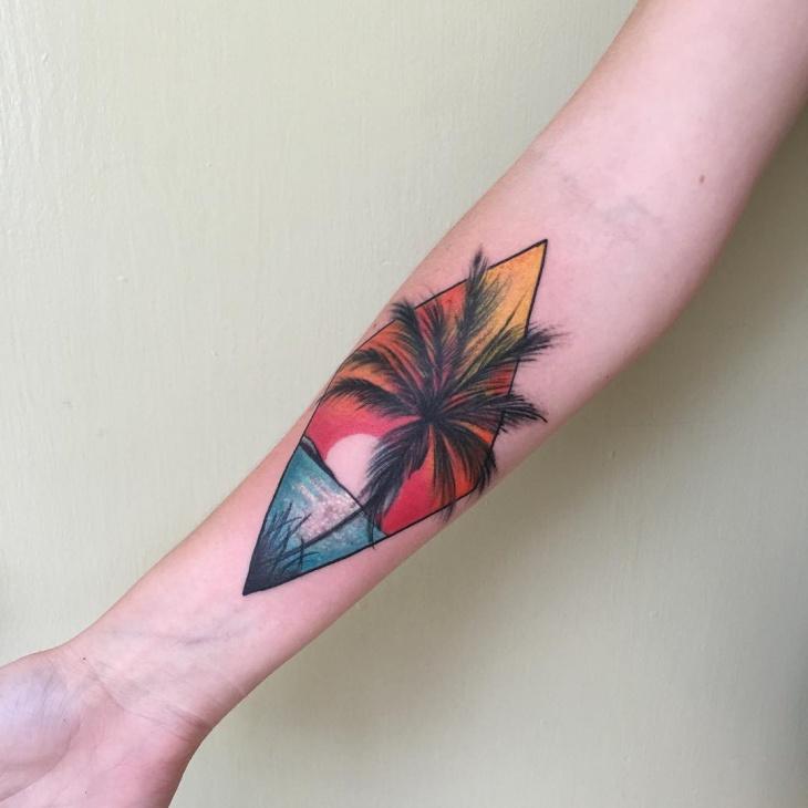 Sunset Arm Tattoo Idea
