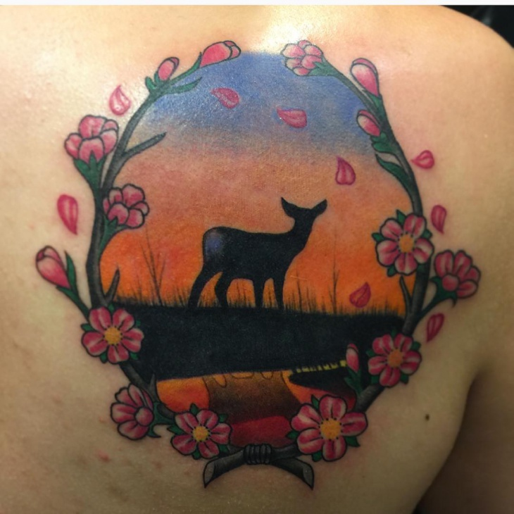 floral sunset tattoo