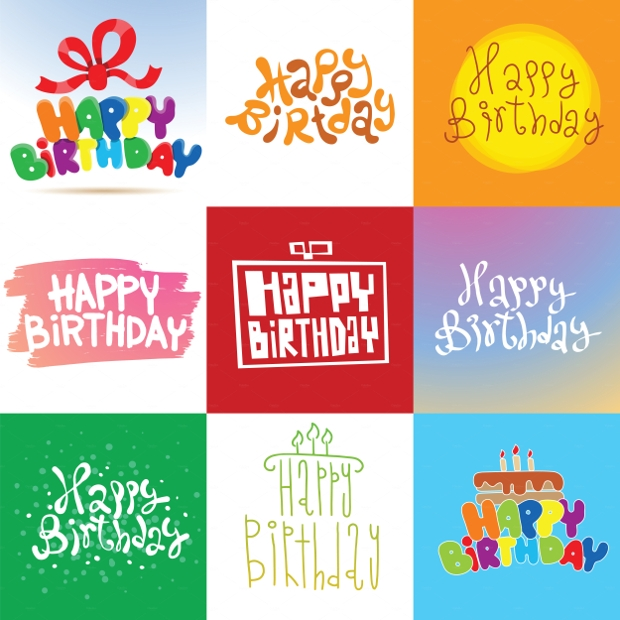 Happy Birthday Cards Vector Set