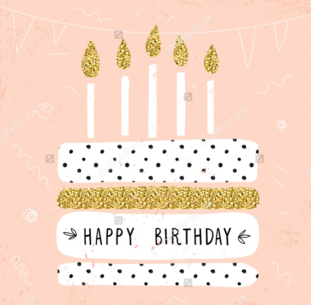 Birthday Card and Cake Vector Illustration