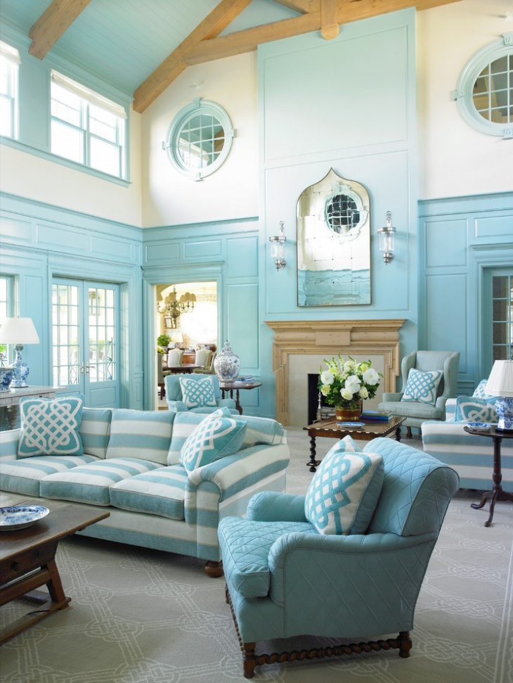 18 turquoise living room designs ideas design trends for Beach cottage style living room furniture