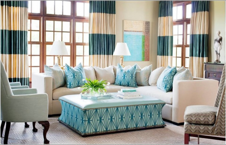 Modern Turquoise Living Room